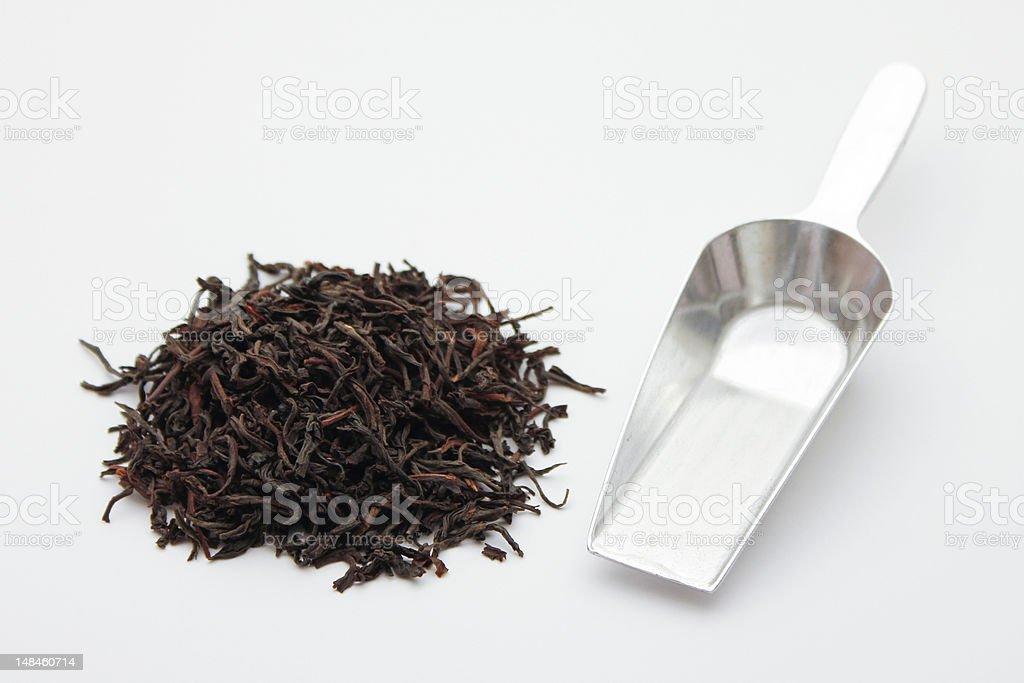 Black Tea and Scoop stock photo