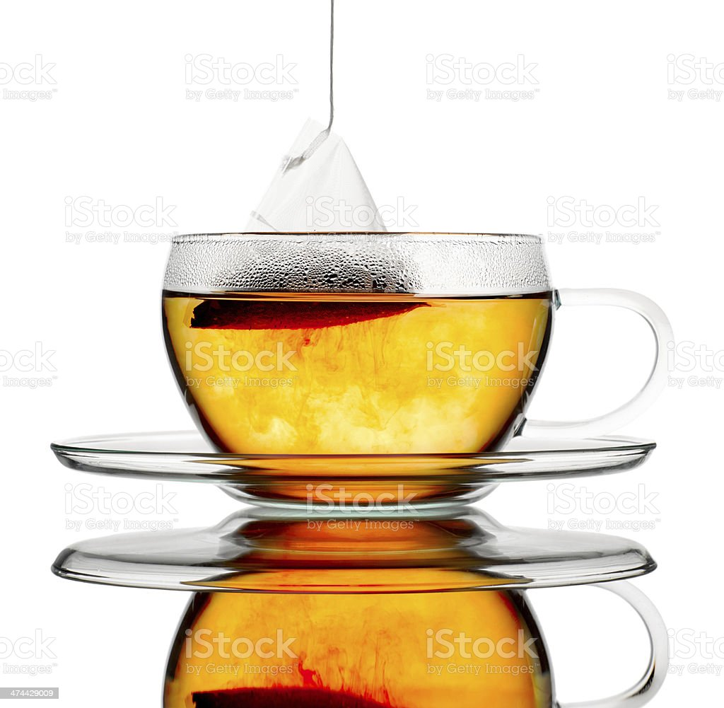 Black tea in a cup. stock photo
