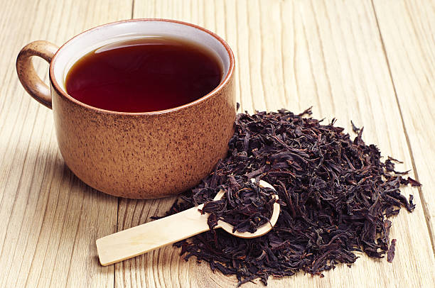 Black tea in a cup stock photo