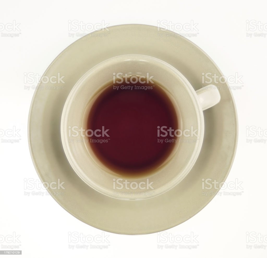 Black tea in cup isolated on white overhead shot royalty-free stock photo