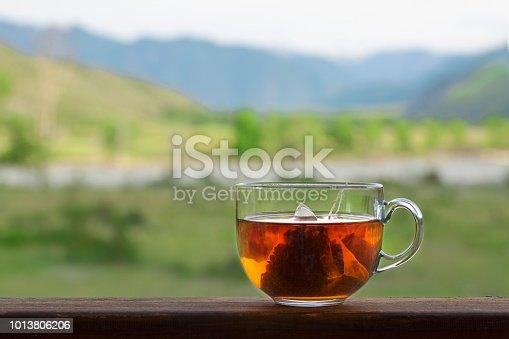 Transparent mug with triangular black tea bag on background of nature panorama