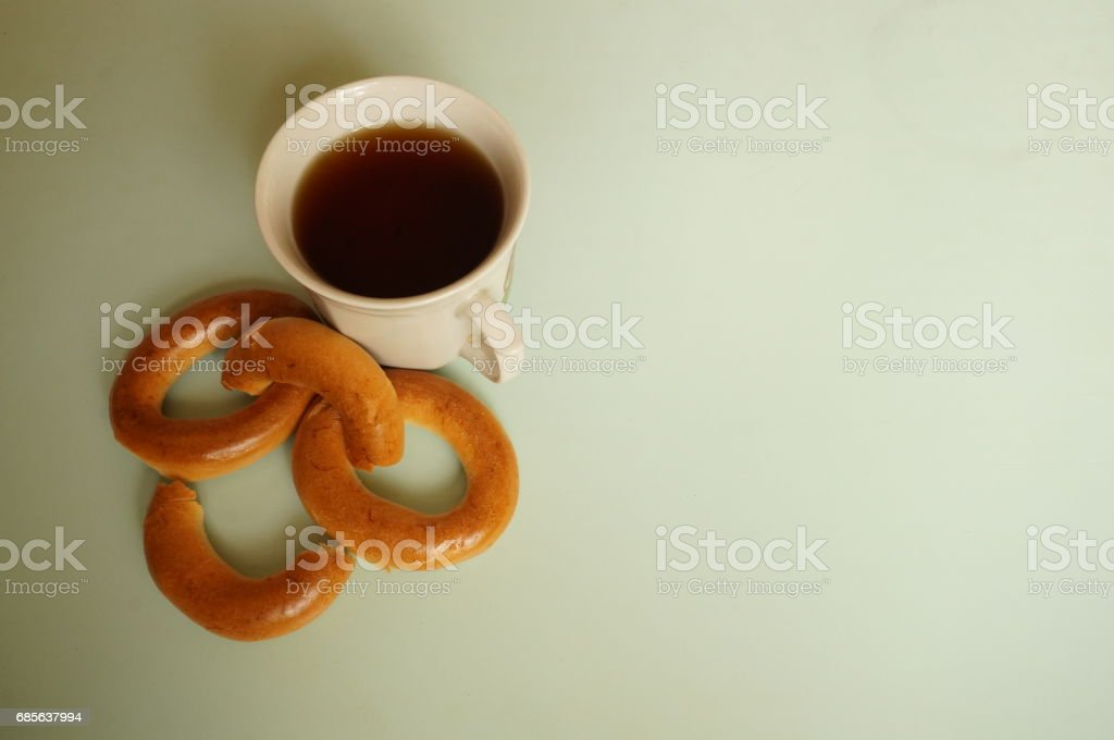 Black tea with bagels for breakfast 免版稅 stock photo