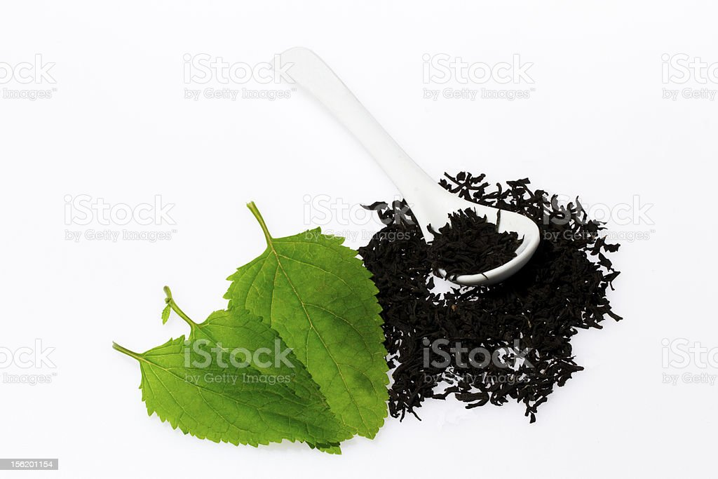 Black tea with leaf isolated on white background royalty-free stock photo