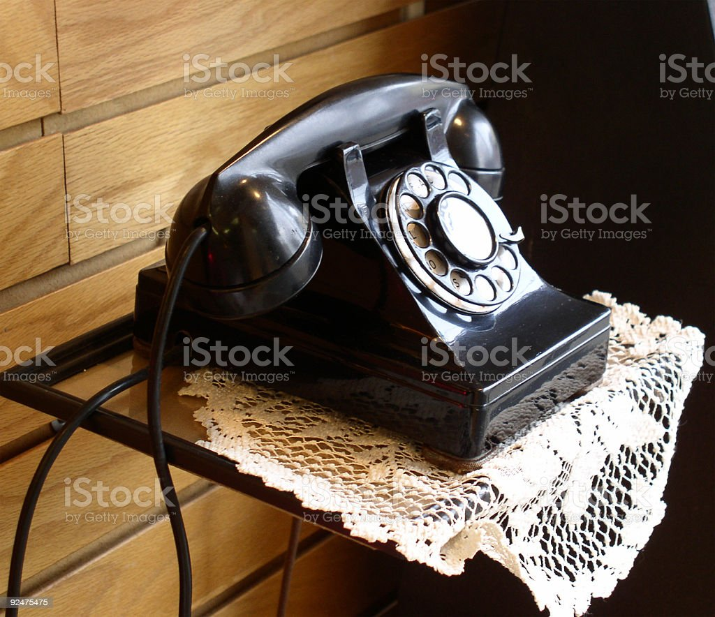 Black telephone from the 40's royalty-free stock photo