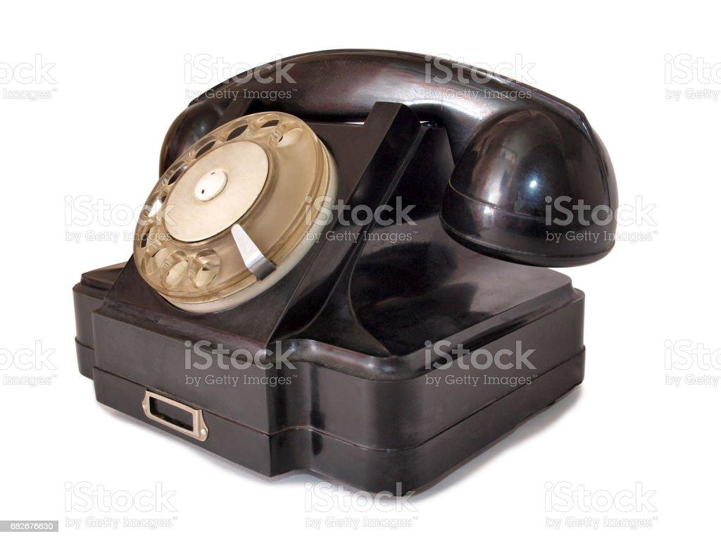 Black telephone stock photo