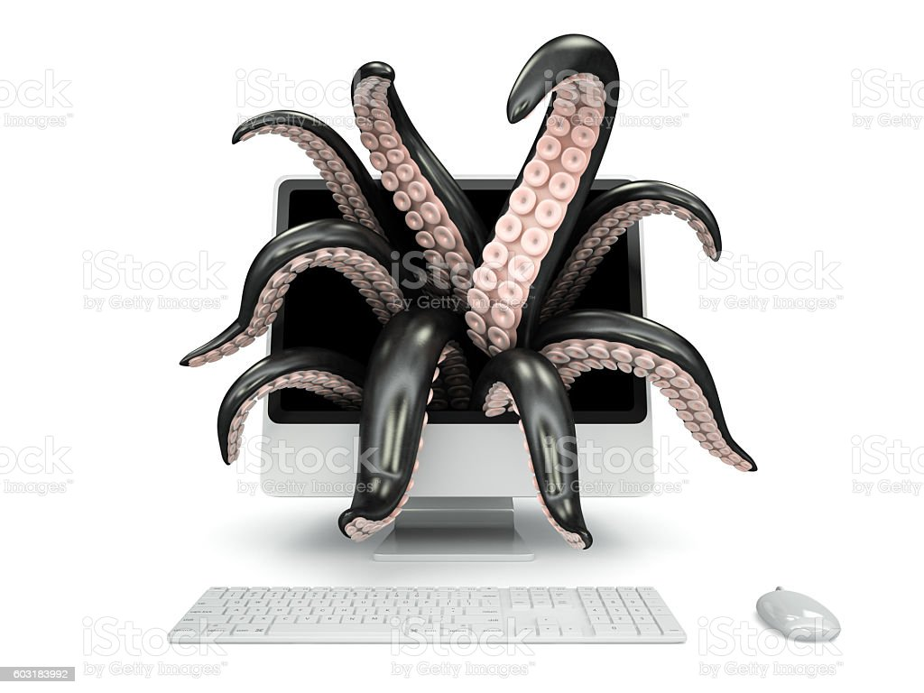 Black tentacles getting out of the computer monitor stock photo