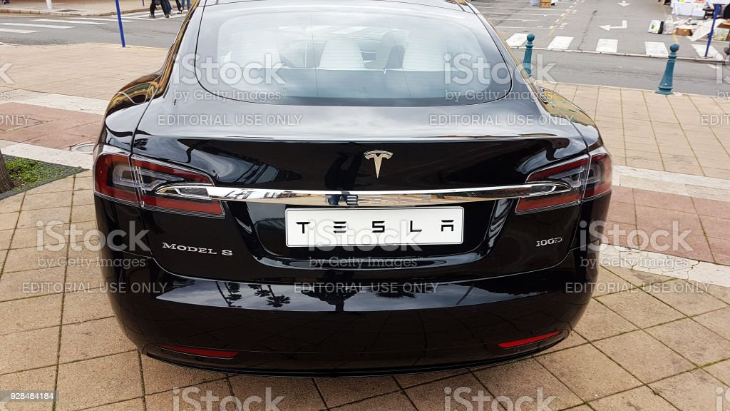 Black Tesla Model S Electric Car - Rear View stock photo