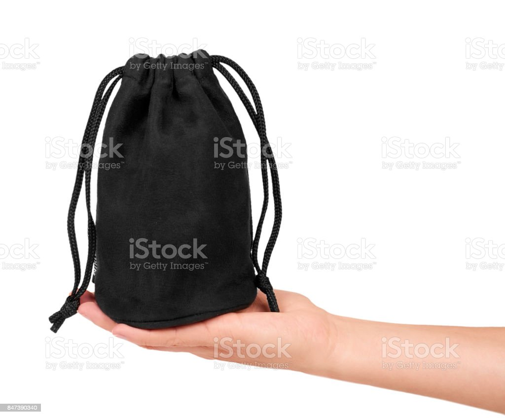 Black textile sack isolated on white background with clipping path stock photo