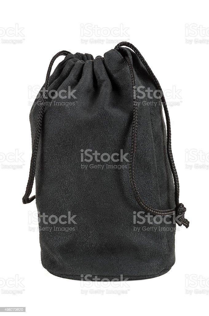 Black textile sack on white background stock photo