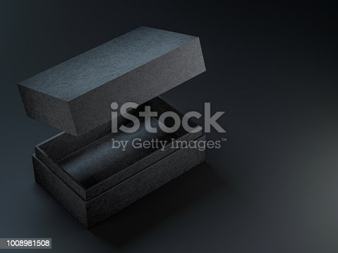 Black textured opened box mockup on black background, 3d rendering