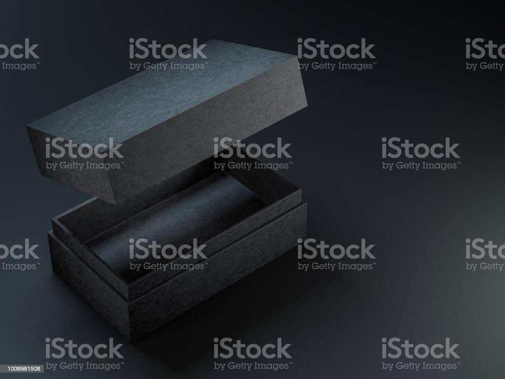 Black textured opened box mockup on black background stock photo