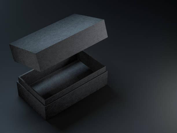 ブラック テクスチャを開いた黒い背景にボックス モックアップ ストックフォト