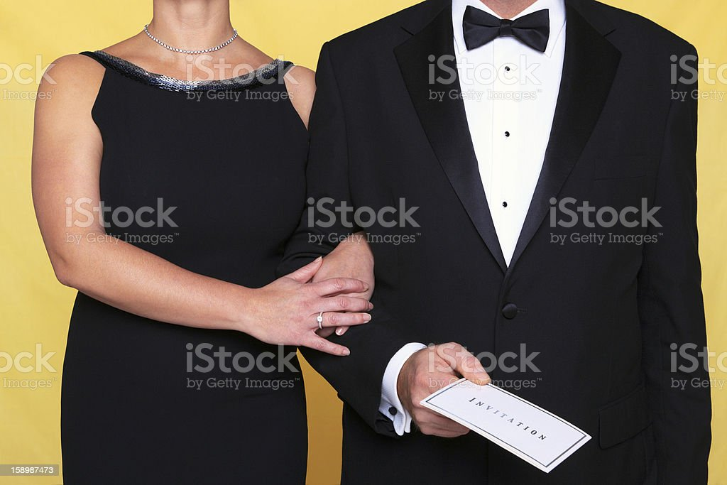Black tie evening dress invitation stock photo