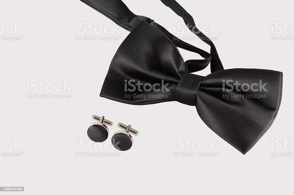 black tie with cuff links stock photo
