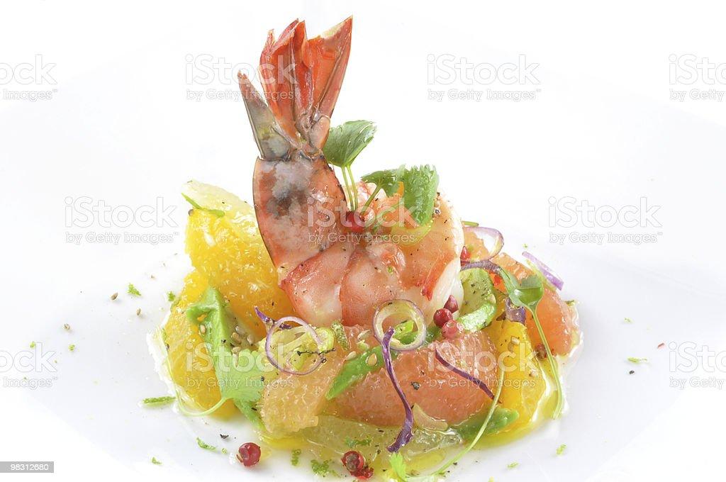Black Tiger Shrimp With Mixed Citrus Salad & Cilantro royalty-free stock photo