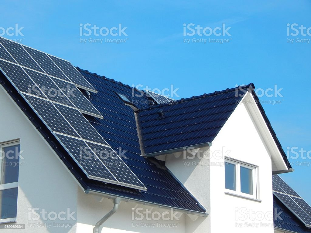 Black tile roof with solar panels – Foto