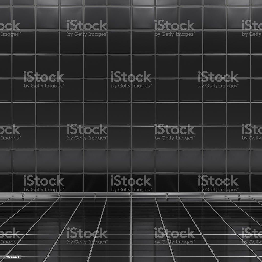 Black tiles room interior stock photo