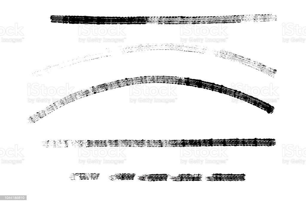 Schwarze Reifen Marken Muster isoliert auf weißem Hintergrund mit clipping Path, brennen und Pause Reifen Textur für Grafik-Design. – Foto