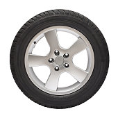 .Brand new winter tire  with wheel (clipping path).