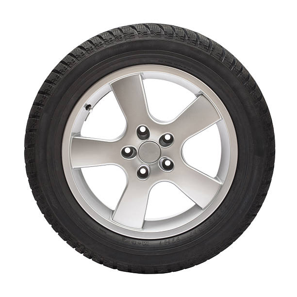 Black tire with steel wheel on white background .Brand new winter tire  with wheel (clipping path). wheel stock pictures, royalty-free photos & images