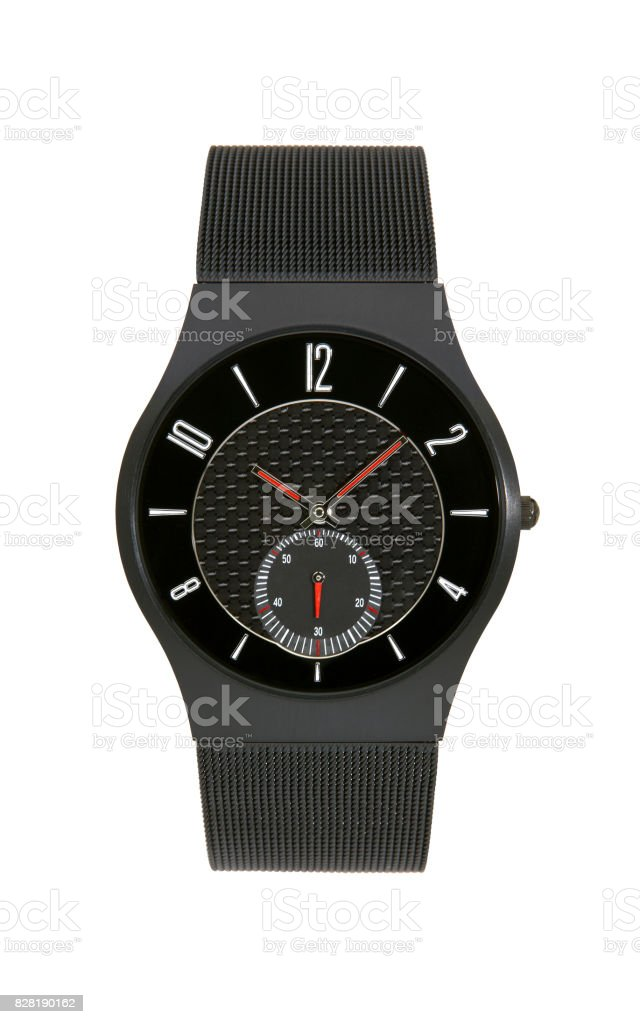 Black titanium wrist watch isolated  background stock photo
