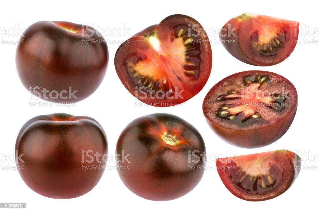 Black tomatoes isolated on white background. Collection stock photo