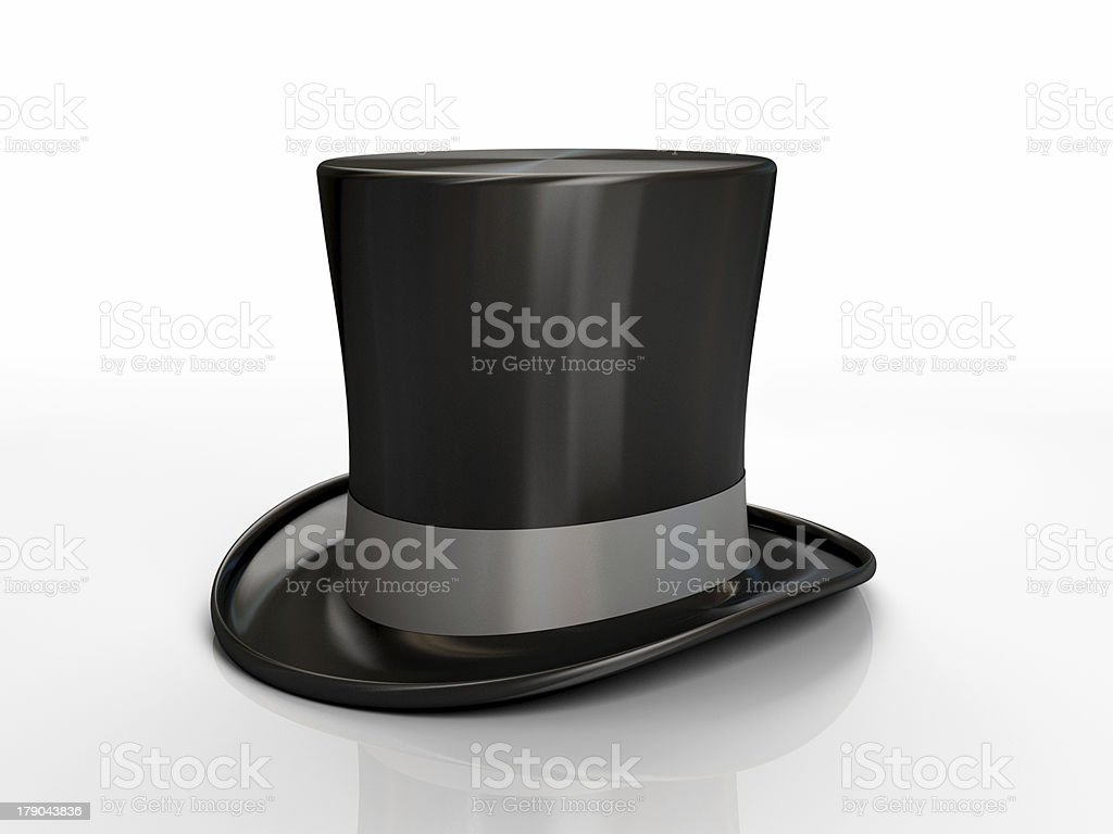 Black top hat isolated on white background stock photo