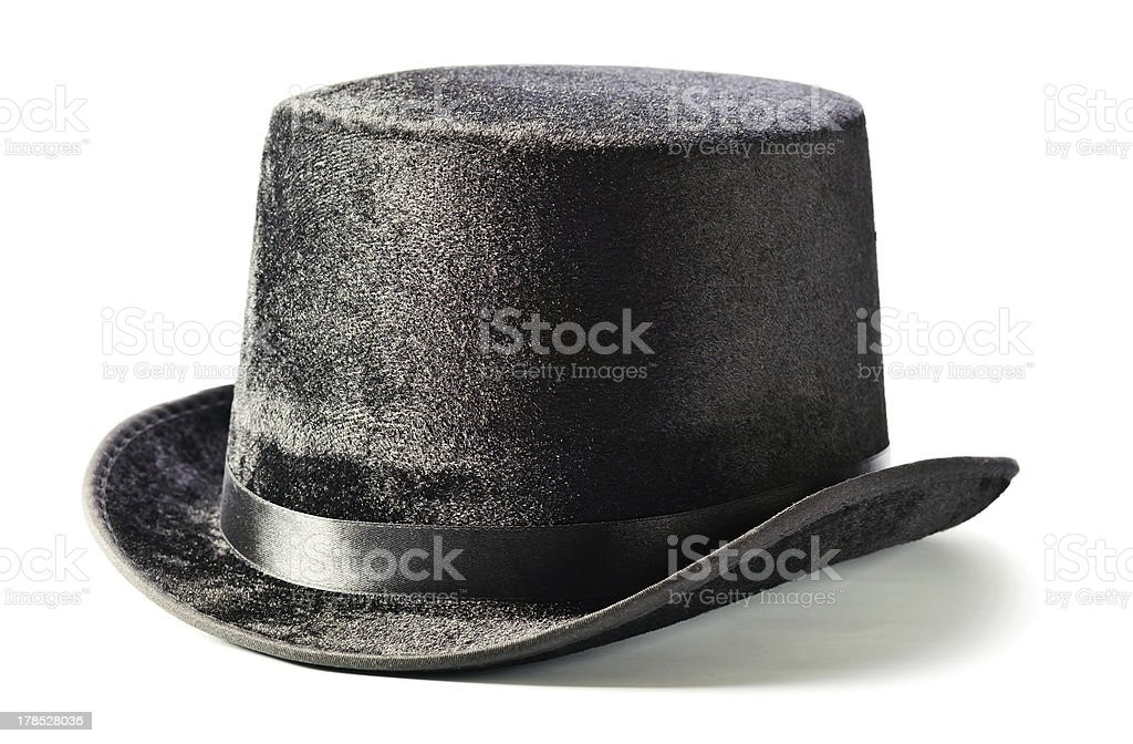Black top hat isolated on white stock photo