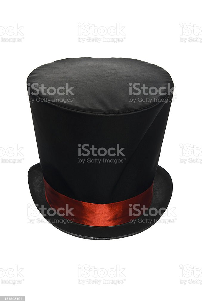 940254d9516 Black Top Hat With Red Ribbon Stock Photo   More Pictures of Adult ...