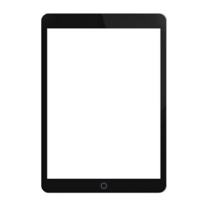 Black touchscreen Tablet with blank white screen isolated on white background.