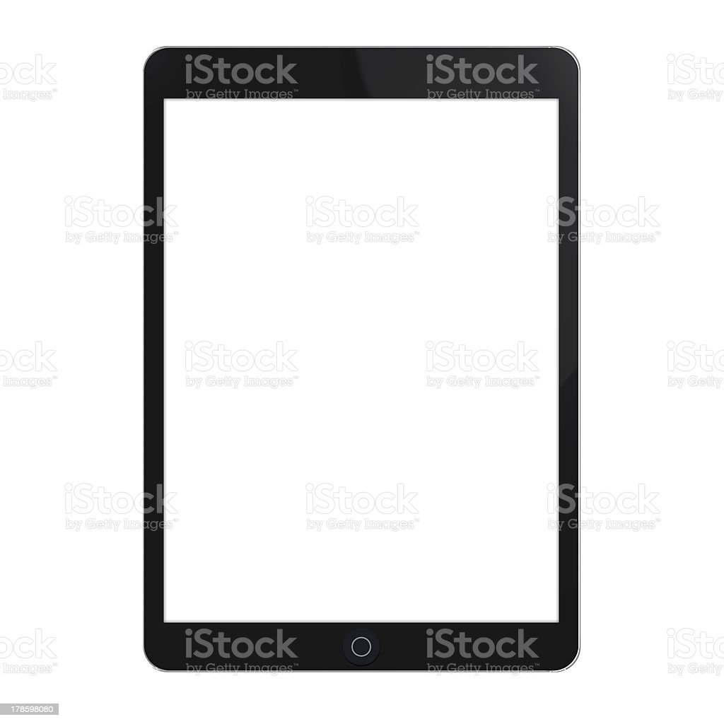 Black Touchscreen Tablet With White Screen stock photo
