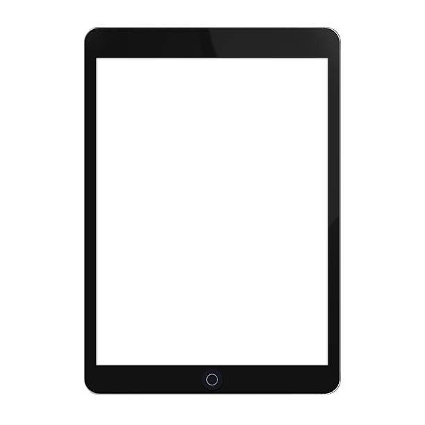 black touchscreen tablet with white screen - tablet stock photos and pictures