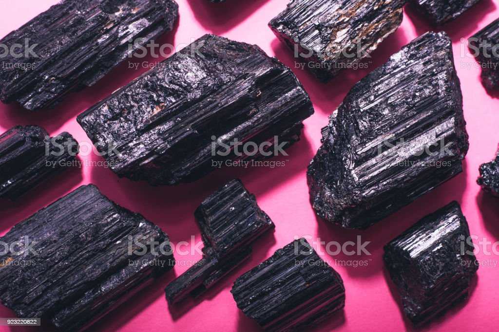 Black tourmaline abstract background stock photo