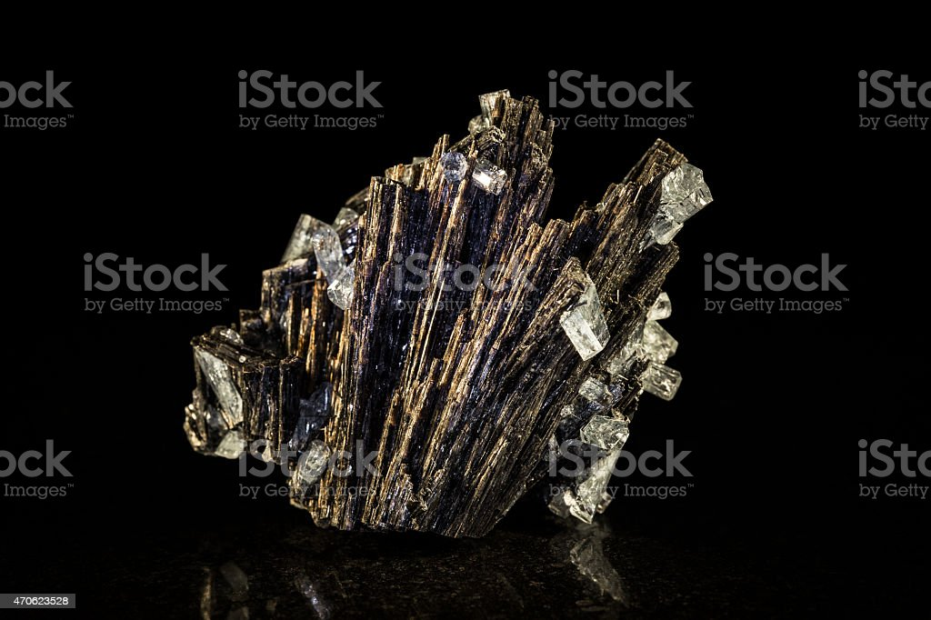 Black tourmaline and aquamarine, black background stock photo