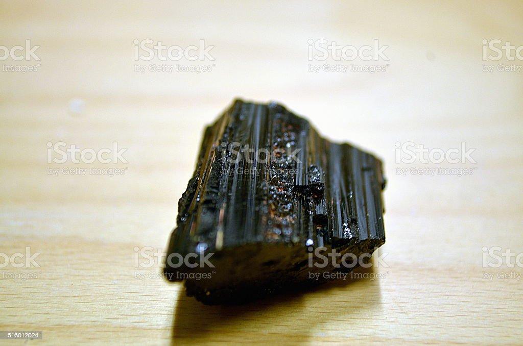 Black tourmaline unpolished mineral stock photo