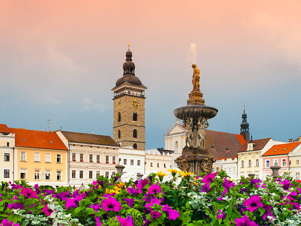 Black Tower and Samson's Fountain in Ceske Budejovice stock photo