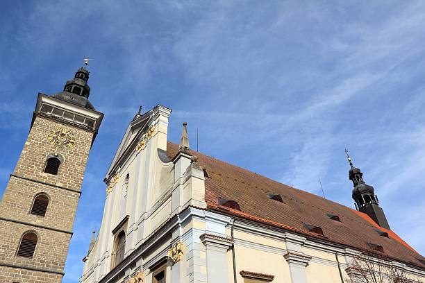 Black Tower and St. Nikolaus Cathedral in Budweis stock photo