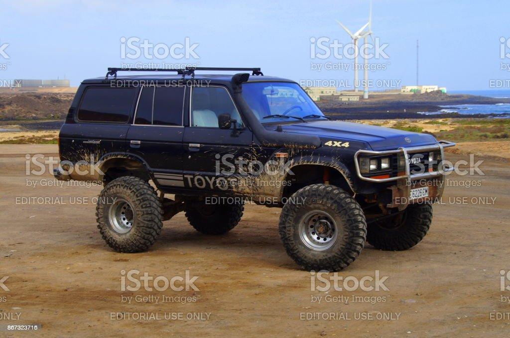 Black Toyota 4x4 Bigfoot stock photo