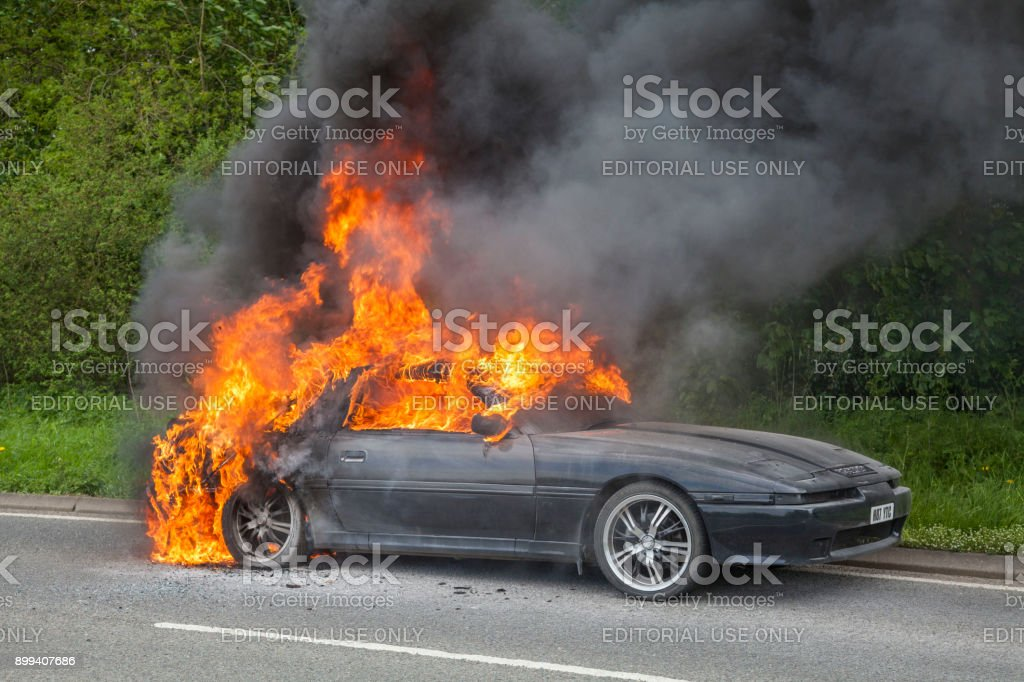 Black Toyota Supra Turbo Car On Fire Royalty Free Stock Photo