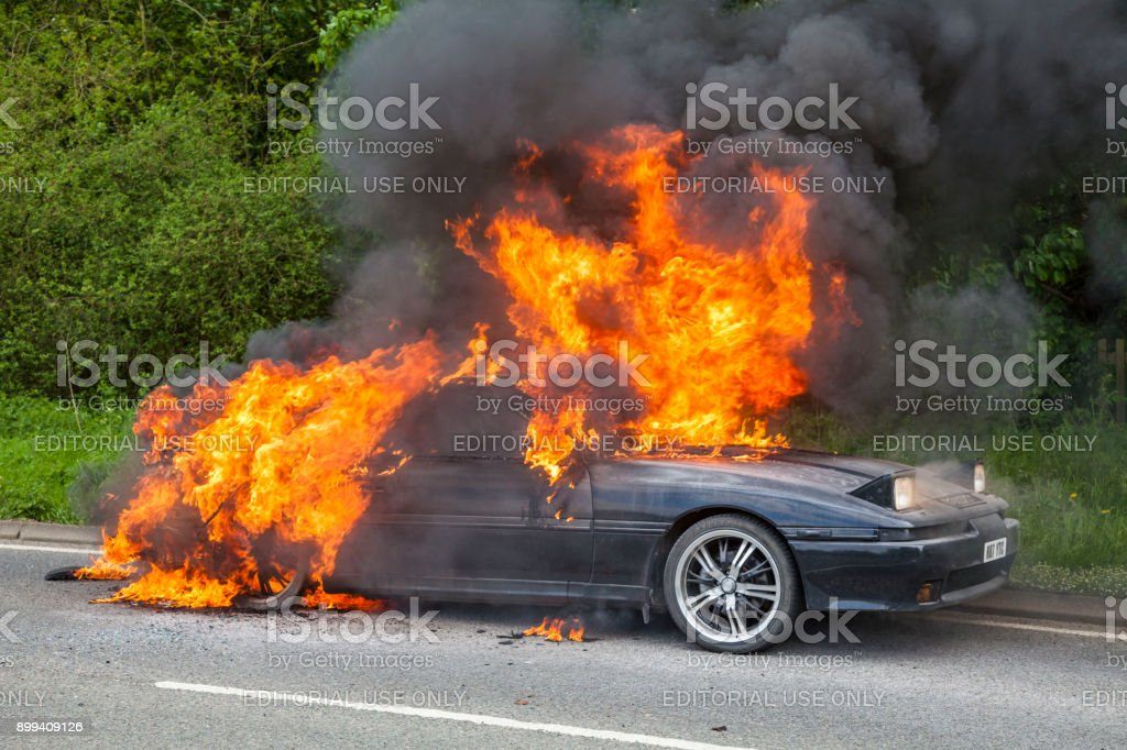 Charming Black Toyota Supra Turbo Car On Fire Royalty Free Stock Photo
