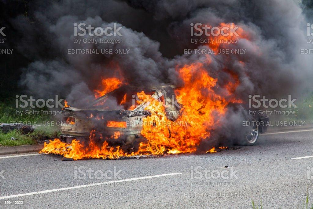 Black Toyota Supra Turbo Car On Fire Royalty Free Stock Photo