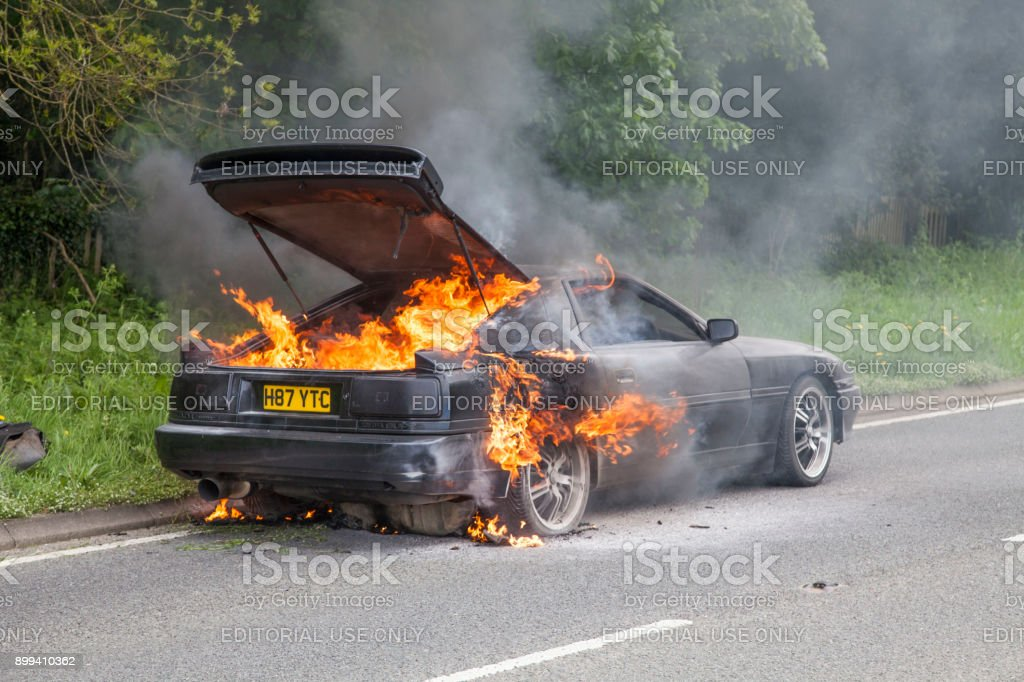 Awesome Black Toyota Supra Turbo Car On Fire Royalty Free Stock Photo