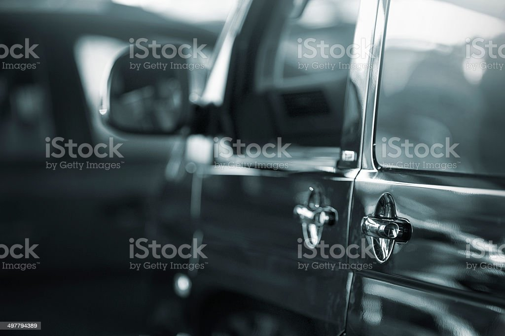 Black Transporter side view stock photo