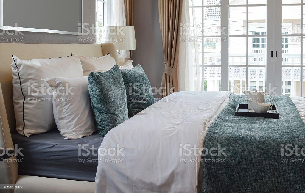 black tray of tea set in classic style bedroom stock photo