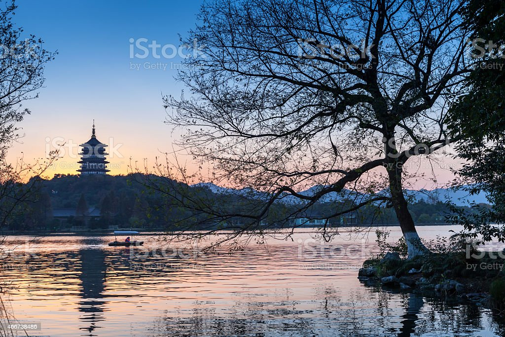 Black trees silhouette and traditional Chinese pagoda stock photo
