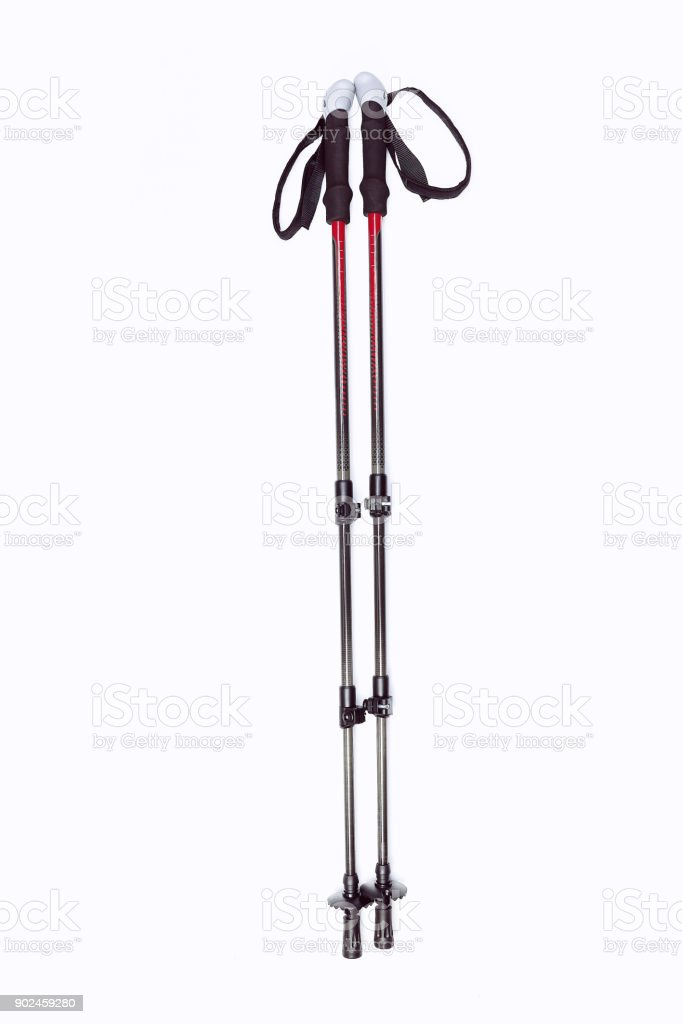 Black trekking stick isolated, lie on a white background stock photo