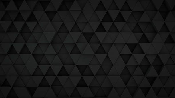 black triangles extruded surface 3d render - geometry stock photos and pictures