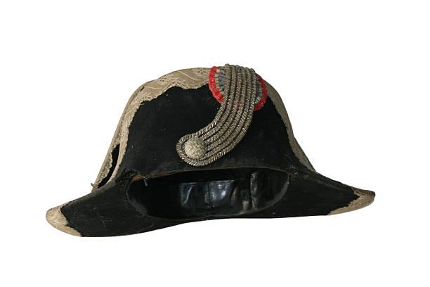 Black tricorn hat (Napoleon hat), isolated over white. stock photo