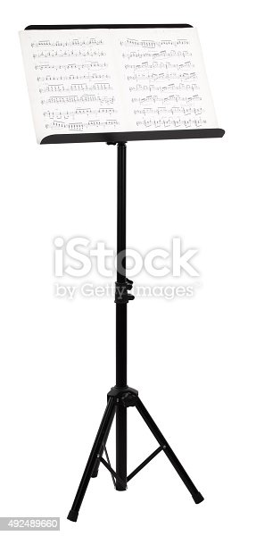 This is a black tripod music note stand.