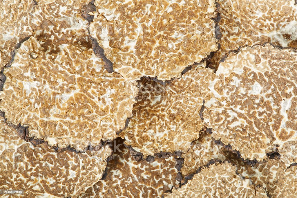 Black truffles slices texture background stock photo